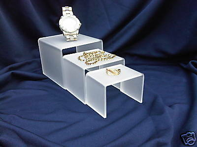 Jewellery Riser Shop Retail Display Stands In Frosted Acrylic Perspex