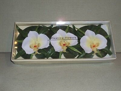 Pier 1 Set of 3 Floating Flowers Lily pad Tropical or Bath Romance Flowers NEW