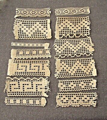 13 Antique French Lace Trim Edging For Dolls Or Crafts Catalog Samples  1648B