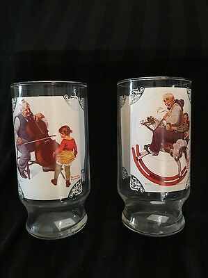 2 Norman Rockwell Country Time Lemonade Glass Drinking Glasses Cups
