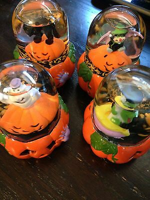 lot of four new mini halloween water globes witch ghost bat cat free