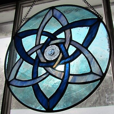 "Stained Glass Sun catcher 10"" Diameter Celtic Morning Star in Blues Jewel Center"