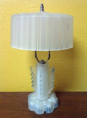 Vintage Antique Frosted Table Boudoir Lamp Ribbed Glass Base Shade Art Deco Base