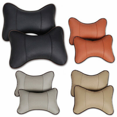 2X Car Neck Pillow Perforating Design Pu Leather Car Headrest Pillow Auto Safety