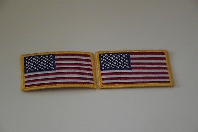 """2 PACK AMERICAN FLAG EMBROIDERED PATCH IRON-ON SEW-ON GOLD BORDER (3½ x 2¼"""")"""