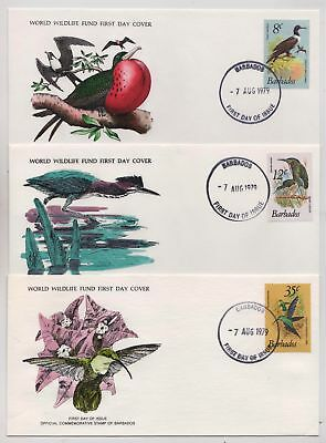 Barbados 1979 Birds Issue - Three Illustrated WWF First Day Covers FDC - (208)