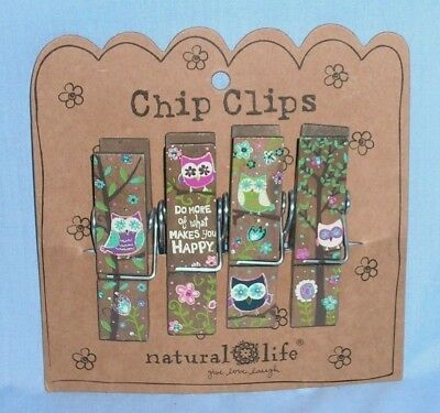 NATURAL LIFE Chip Clips Painted Wood Clothes Pins ~ OWLS ~ NEW