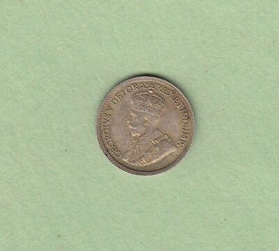 1919 Canadian 5 Cents Silver Coin - EF