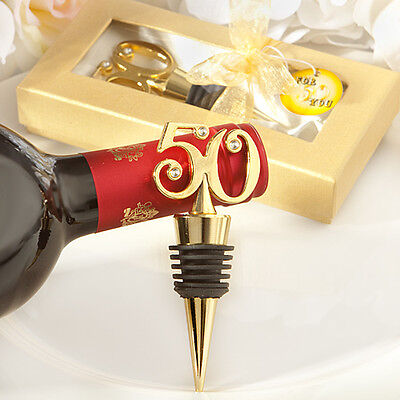 60 - 50th Gold Wine Bottle Stoppers- Anniversary Birthday Favors