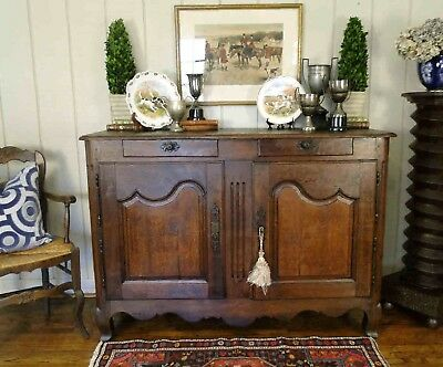 Antique French Country Buffet Sideboard Server Provence France Dark Wood 1800 S