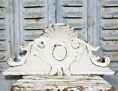 "Shabby Painted Pediment 15"" Antique French Hand Carved Wood Scroll Leaves Crest"