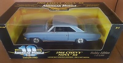 AMERICAN MUSCLE 1:18 DIECAST 1966 CHEVY NOVA SS HOBBY 1 of 5000 w BOX 10 YEARS