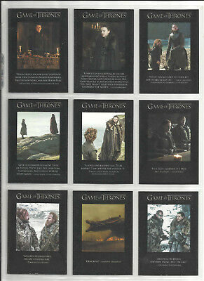 2018 Game of Thrones: Season 7 QUOTABLE Complete Set of 9 Chase Cards (Q61-Q69)