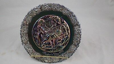 1975 Fenton Blue Carnival Collectors Glass Plate Mothers Day 1975