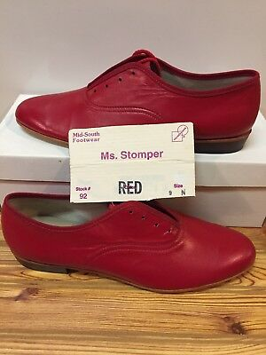 Ms. Stomper  Size 9 N WOMENS Clogging Tap Dance Shoes, (no Taps) Red