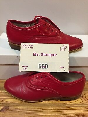 Ms. Stomper  Size 4 W WOMENS Clogging Tap Dance Shoes, (no Taps) Red