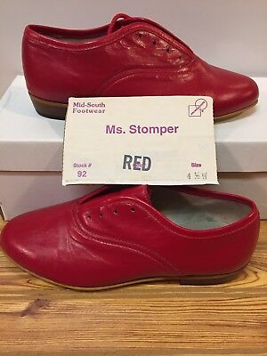 Ms. Stomper  Size 4.5 W WOMENS Clogging Tap Dance Shoes, (no Taps) Red