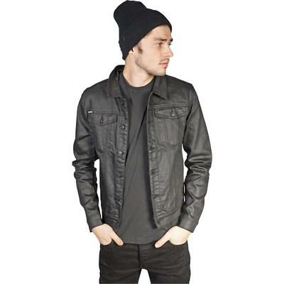 Kill City Men'S Black Coated Twill Trucker Denim Jacket Retails $220.00
