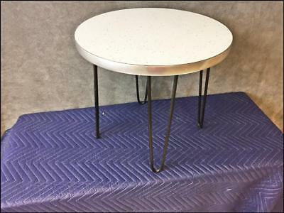 Mid Century Modern SIDE TABLE plant stand round hairpin legs end vintage 50s 60s