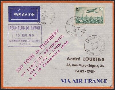 Lettre 1er vol 1936 CHAMBERY-LYON Air France Aéro-club Savoie first flight cover