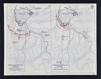 West Point Civil War Map Battle of Franklin Tennessee Ft. Granger Schofield Hood