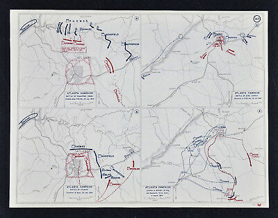 West Point Civil War Map Battle of Atlanta - Peachtree Creek Ezra Church Georgia