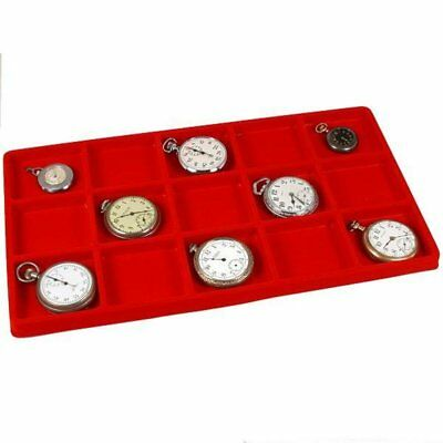 Five 15 Slot Jewelry Coin Red Showcase Display Tray Inserts