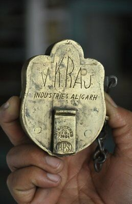 1930's Old VK Raj Handcrafted Unique Shape Solid Heavy Brass Padlock