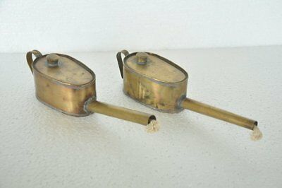 2 Pc Old Brass Handcrafted Unique Long Nozzle Goldsmith Oil Lamps , Nice Patina