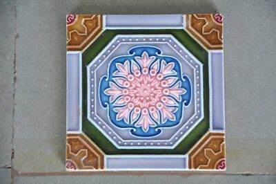 Vintage Majolica Decorative Octagonal Flower Art Nouveau Architecture Tile,Japan