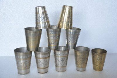 10 Pc Old Brass Handcrafted Inlay Engraved Small Glasses , Nice Patina