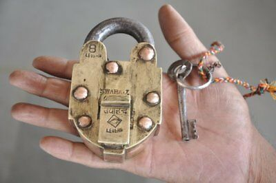1930's Old Brass & Copper Handcrafted Solid Heavy Jai Hind Push Button Padlock