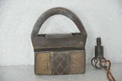 1930's Old Iron Solid Handcrafted Brass Fitted Screw System Padlock, Rich Patina