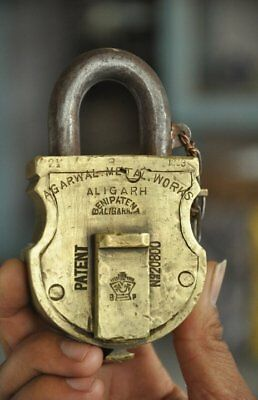 Old Brass Handcrafted Agarwal Metal Works Solid Heavy Padlock , Rich Patina