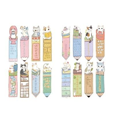 30Pcs/lot Reading Cats Cartoon Funny Cat Shaped Paper Bookmark Gift Stationery