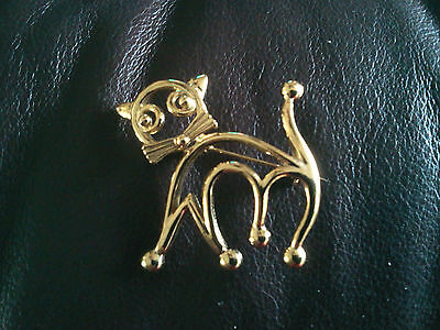 Animal Pet Kitty Jewelry 2 Silhouette Cat Gold Plated Pins All New.