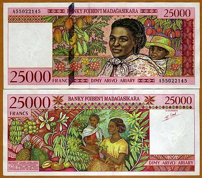 Madagascar 25000 (25,000) Francs ND (1998) PIck 82  A-Prefix UNC > Highest Den.