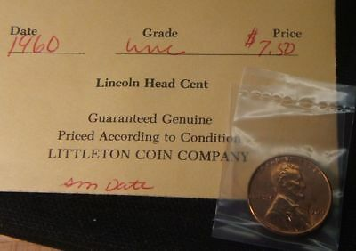 1960-P--(Small Date)  Ms-Bu Littleton Packaging--- Lincoln Cent