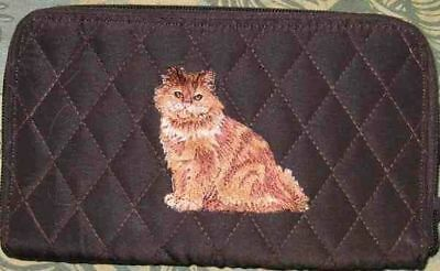 Belvah wallet ORANGE LONGHAIR CAT Quilted Fabric Zip Around Brn Ladies Wallet
