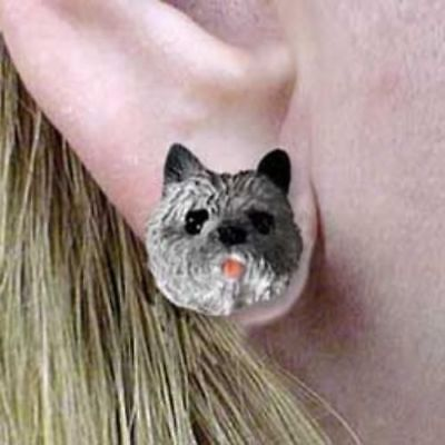 Post Style CAIRN TERRIER GRAY Resin Dog Head Post Earrings Jewelry CLEARANCE