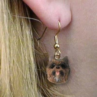 Dangle Style CAIRN TERRIER BRINDLE Dog Head Resin Earrings Jewelry CLEARANCE