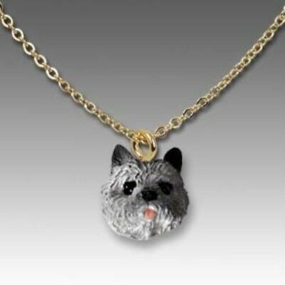 Dog on Chain CAIRN TERRIER GRAY Resin Dog Necklace Jewelry Pendant CLEARANCE