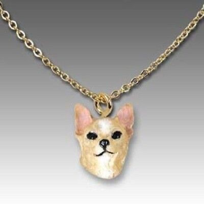 Dog on Chain CHIHUAHUA TAN Resin Dog Head Necklace Jewelry Pendant