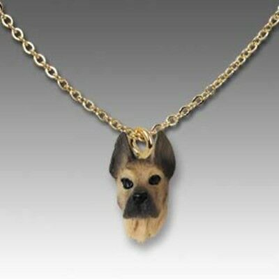 Dog on Chain GREAT DANE FAWN Resin Dog Necklace Jewelry Pendant CLEARANCE