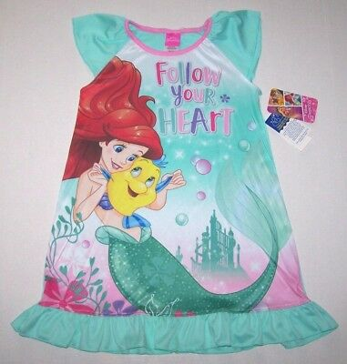 d581baa5c3 Nwt New Disney Ariel Little Mermaid Nightgown Pajamas Flounder Follow Heart  Girl