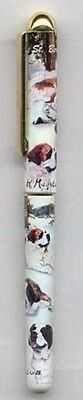 Writing Pen SAINT BERNARD Dog Breed Smooth Rollerball Black Ink Pen Refillable
