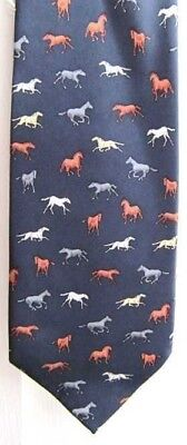 Quality Museum Artifacts HORSES Design Navy Color Mens Silk Necktie