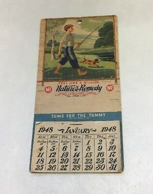 Vntg 1948 Nature's Remedy Tums Advertising Calendar Complete McCoy Graphic