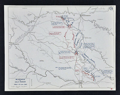West Point Civil War Map  Battle of Wilderness to Cold Harbor - Hanover Junction