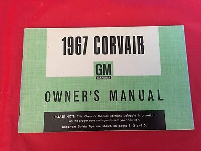 "k. 1967 (GM Canada) Chevrolet ""Corvair"" Car Owner's Manual User's Guide"
